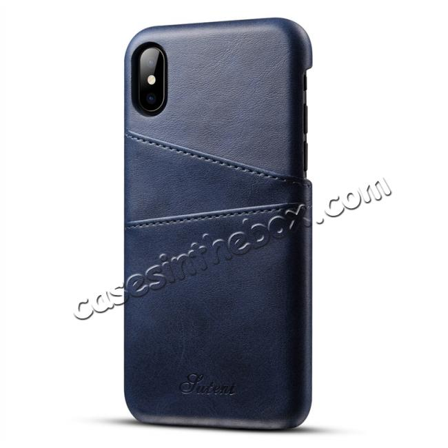 online retailer acf60 6a5bf Ultra thin Leather Back Case Slim Card Slot Cover for iPhone X - Navy Blue