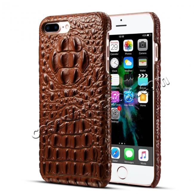 wholesale Crocodile Head Pattern Genuine Cowhide Leather Back Cover Case for iPhone 8 Plus 5.5 inch - Brown