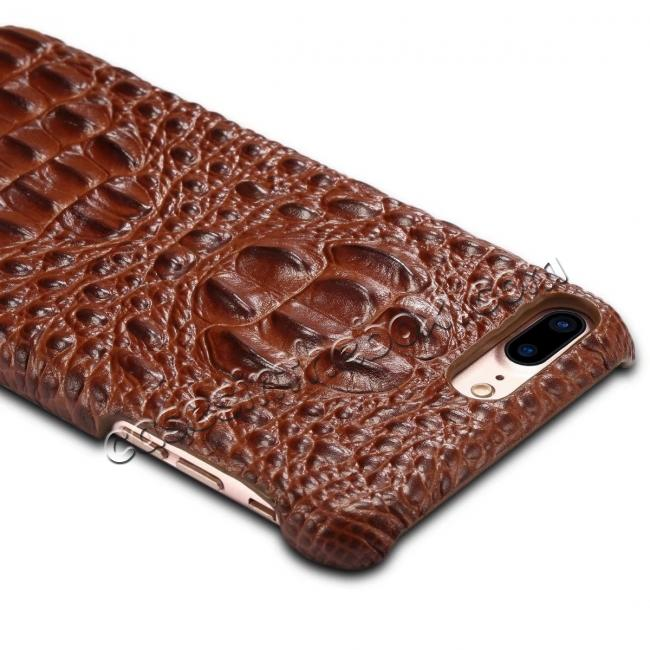 best price Crocodile Head Pattern Genuine Cowhide Leather Back Cover Case for iPhone 8 Plus 5.5 inch - Brown
