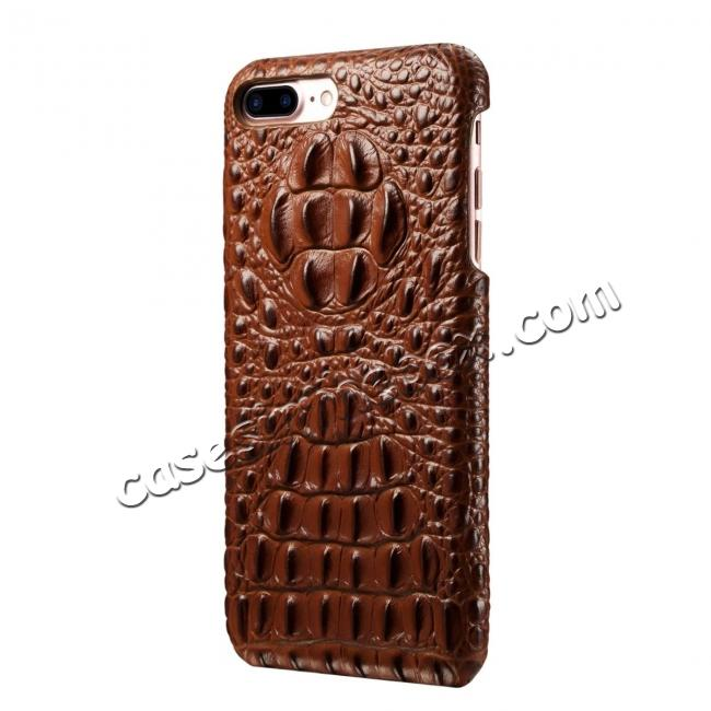 cheap Crocodile Head Pattern Genuine Cowhide Leather Back Cover Case for iPhone 8 Plus 5.5 inch - Brown