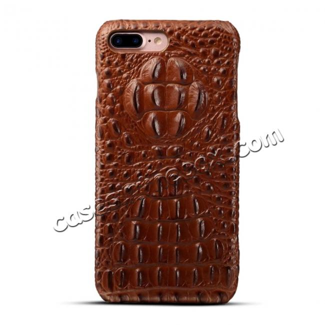 discount Crocodile Head Pattern Genuine Cowhide Leather Back Cover Case for iPhone 8 Plus 5.5 inch - Brown