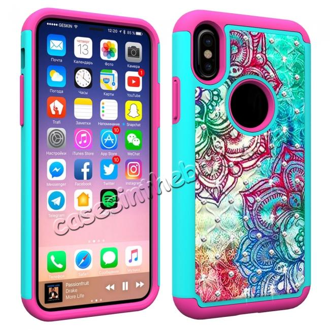 cheap Crystal Bling Diamond Hybrid Armor Defender Dual Layer Shockproof Case for iPhone X - Teal Flower