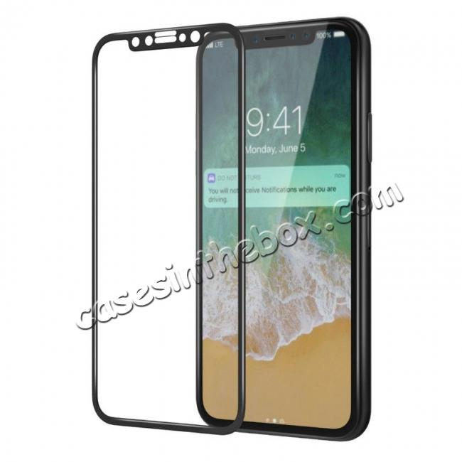 discount Full Coverage 4D Curve Tempered Glass Film Screen Protector for iPhone X - Black