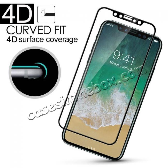 wholesale Full Coverage 4D Curve Tempered Glass Film Screen Protector for iPhone X - Black