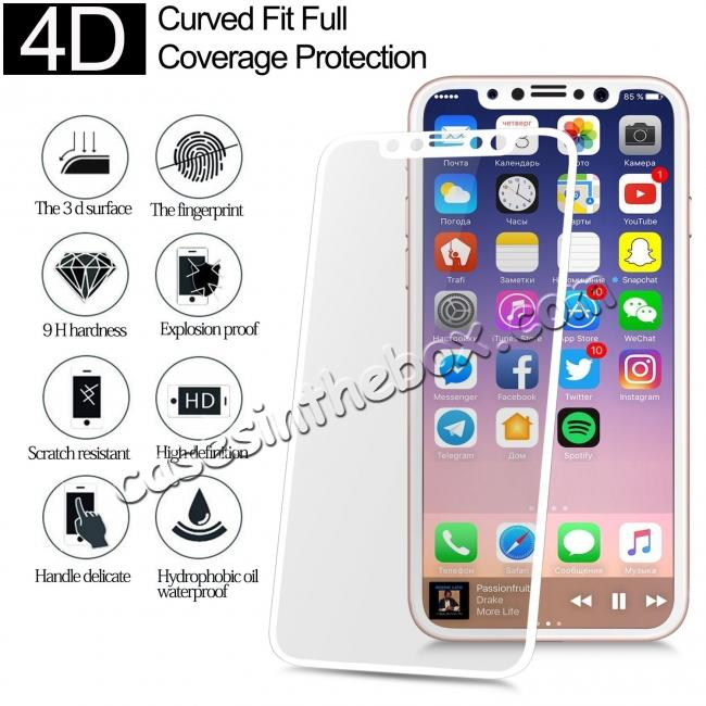 wholesale Full Coverage 4D Curve Tempered Glass Film Screen Protector for iPhone X - White