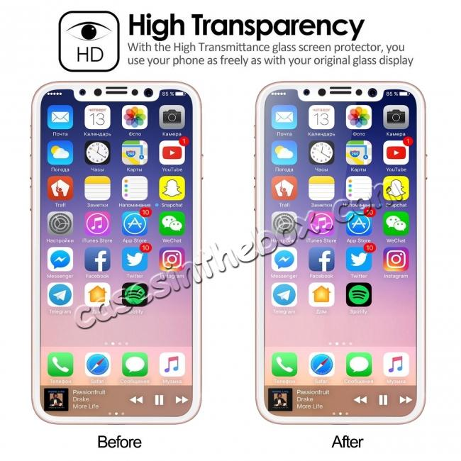 cheap Full Coverage 4D Curve Tempered Glass Film Screen Protector for iPhone X - White