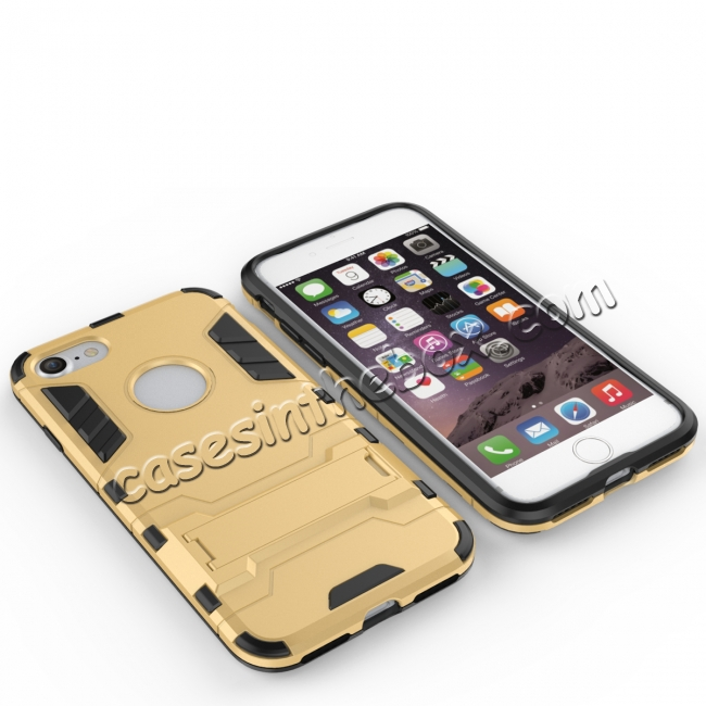 top quality Slim Armor Shockproof Kickstand Protective Case for iPhone SE 2020 / 8 4.7inch - Gold