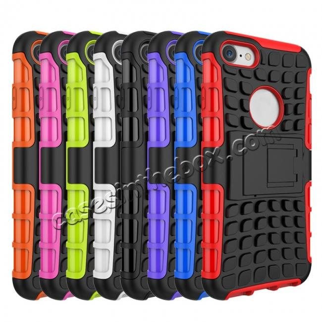 discount Tough Armor Shockproof Hybrid Dual Layer Kickstand Protective Case for iPhone 8 4.7inch - Hot pink