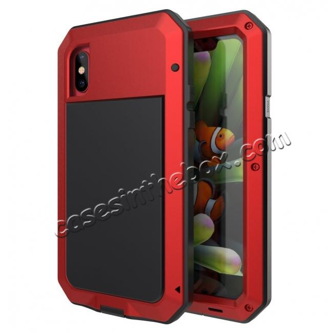 wholesale Aluminum Metal Shockproof Waterproof Glass Case Cover for iPhone XS / X - Red