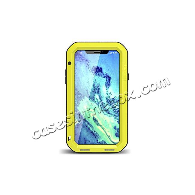 wholesale Aluminum Metal Shockproof Waterproof Glass Case Cover for iPhone XS / X - Yellow