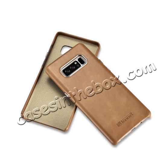 samsung galaxy note 8 leather case,cheap ICARER Genuine Real Leather Back Case Cover For Samsung Galaxy Note 8 - Khaki