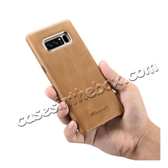 galaxy note 8 leather back,top quality ICARER Genuine Real Leather Back Case Cover For Samsung Galaxy Note 8 - Khaki