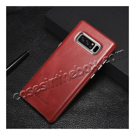 benuo galaxy note 8 leather case,discount ICARER Genuine Real Leather Back Case Cover For Samsung Galaxy Note 8 - Red
