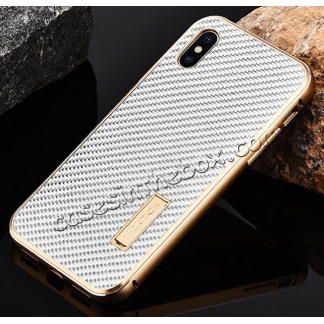 discount Aluminum Metal Bumper Frame Shockproof Case+Carbon Fiber Back Cover For iPhone XS / X - Gold&Silver
