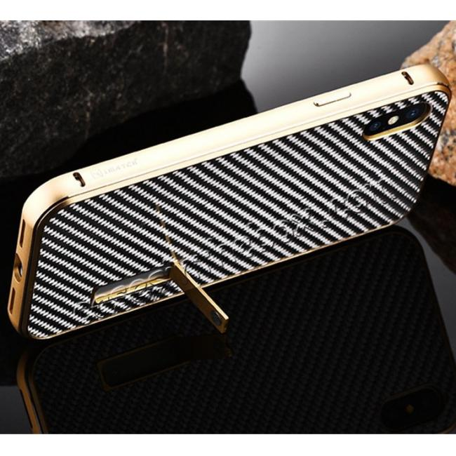 top quality Aluminum Metal Bumper Frame Shockproof Case+Carbon Fiber Back Cover For iPhone XS / X - Gold&Silver