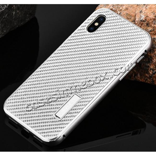 best price Aluminum Metal Bumper Frame Shockproof Case+Carbon Fiber Back Cover For iPhone XS / X - Gold&Silver