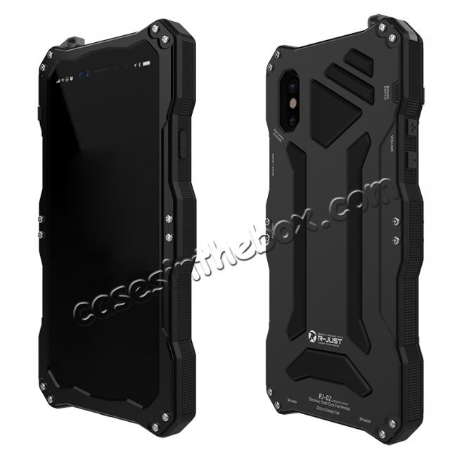 cheap R-Just 3-Proof Aluminium Metal Tempered Glass Case for iPhone XS / X - Black