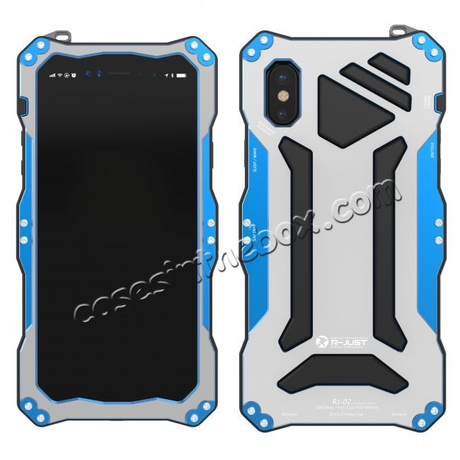 new concept 69877 764ff R-Just 3-Proof Aluminium Metal Tempered Glass Case for iPhone XS / X - Blue