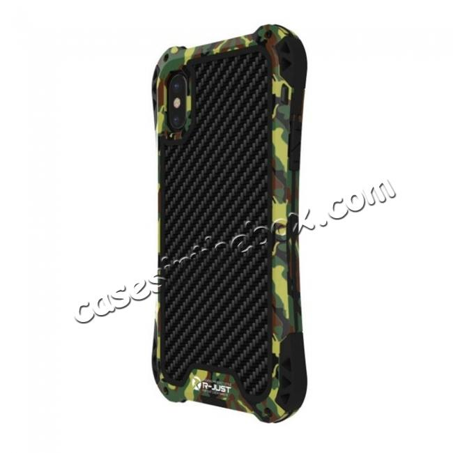 cheap Shockproof DropProof DirtProof Carbon Fiber Metal Gorilla Glass Armor Case for iPhone XS / X - Camouflage