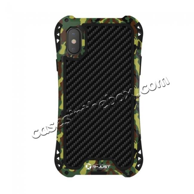 top quality Shockproof DropProof DirtProof Carbon Fiber Metal Gorilla Glass Armor Case for iPhone XS / X - Camouflage