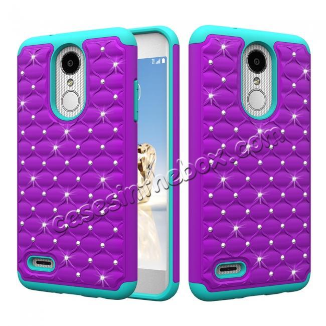 new product 8b873 73e3e Cute Girls Women Bling Glitter Hybrid Full Body Phone Case Cover For LG  Tribute Dynasty / Aristo 2 - Purple&Teal