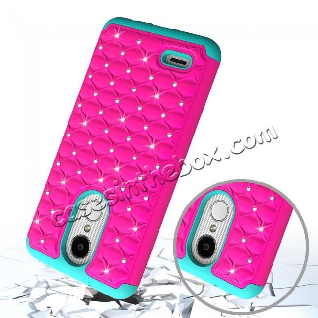 Cute Girls Women Bling Glitter Hybrid Full Body Phone Case Cover For Lg Tribute Dynasty Aristo 2 Rose Teal