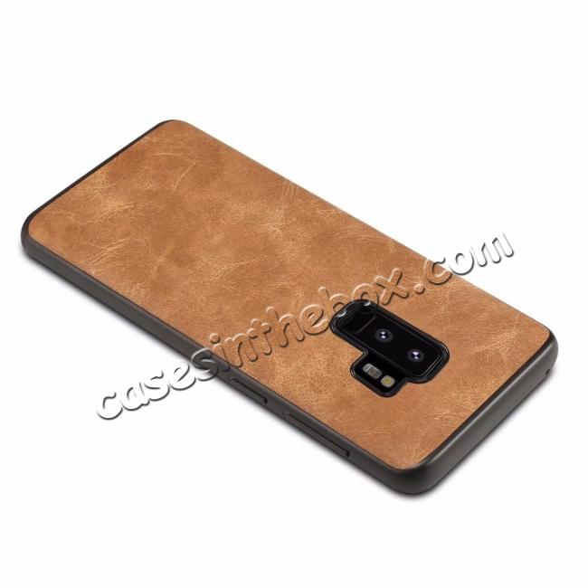 top quality Luxury PU Leather Shockproof Slim Case Cover For Samsung Galaxy S9+ Plus - Brown