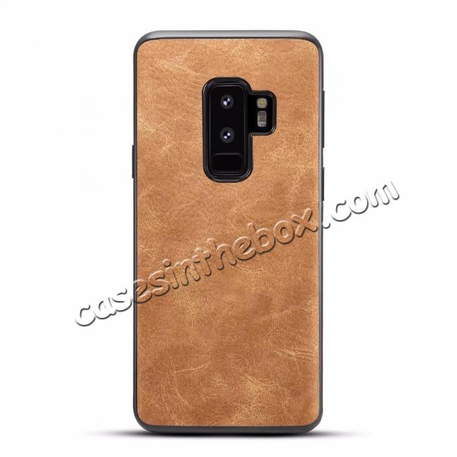 wholesale Luxury PU Leather Shockproof Slim Case Cover For Samsung Galaxy S9+ Plus - Brown