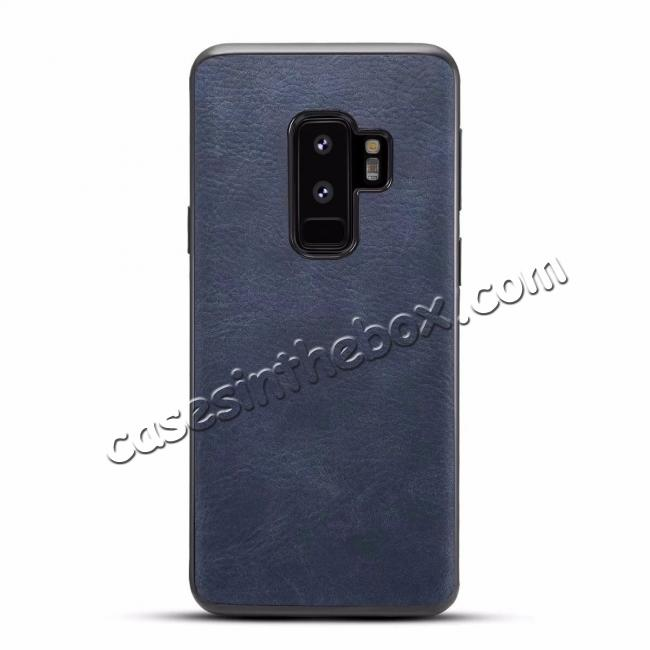 wholesale Luxury PU Leather Shockproof Slim Case Cover For Samsung Galaxy S9+ Plus - Dark Blue