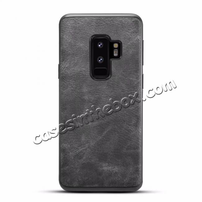 wholesale Luxury PU Leather Shockproof Slim Case Cover For Samsung Galaxy S9+ Plus - Dark Gray