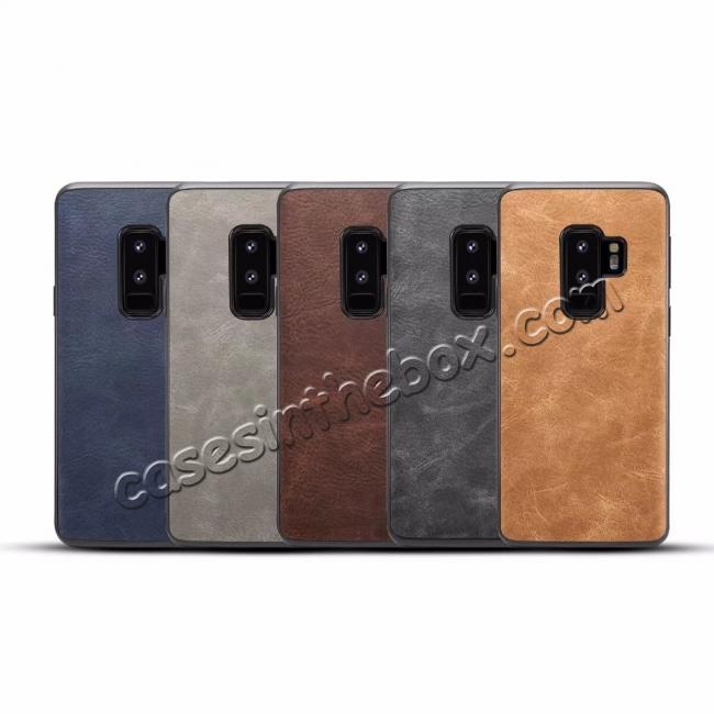 top quality Luxury PU Leather Shockproof Slim Case Cover For Samsung Galaxy S9+ Plus - Light Gray