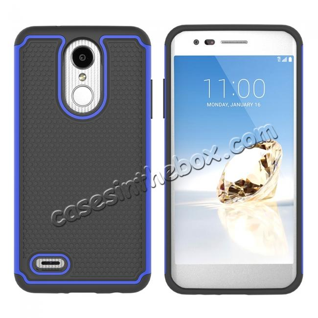 discount Full Body Hybrid Dual Layer ShockProof Protective Case For LG Tribute Dynasty / Aristo 2 - Dark blue