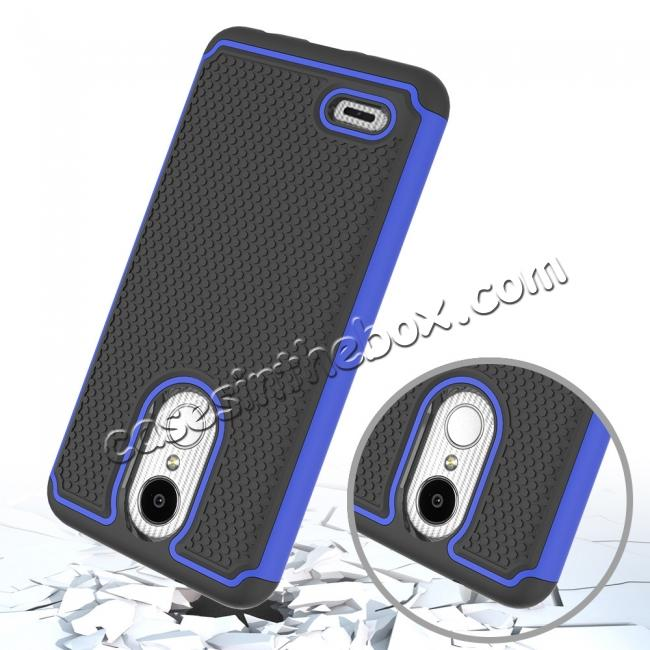 top quality Full Body Hybrid Dual Layer ShockProof Protective Case For LG Tribute Dynasty / Aristo 2 - Dark blue