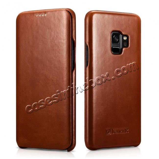 wholesale ICARER Curved Edge Genuine Leather Flip Case For Samsung Galaxy S9+ Plus - Brown