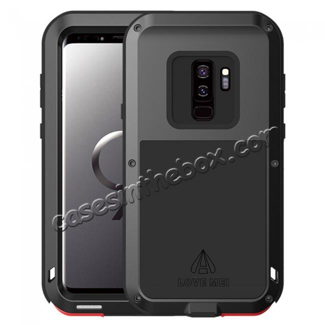 free shipping 1ccf4 9562c Shockproof Silicone Aluminum Metal Armor Heavy Duty Cover Case for Samsung  Galaxy S9 - Black