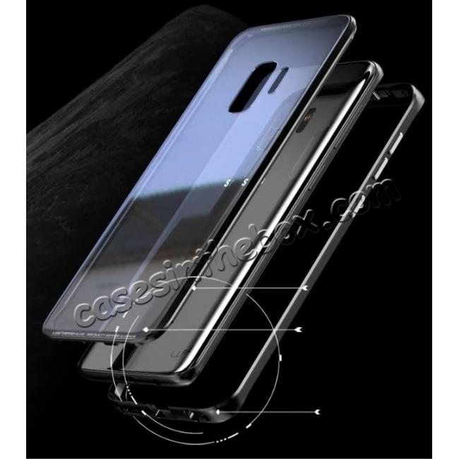 top quality Aluminium Metal Frame+Transparent Tempered Glass Case for Samsung Galaxy S9 - Black