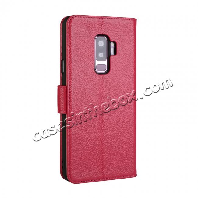 cheap Genuine Leather Wallet Flip Case Stand Credit Card for Samsung Galaxy S9 - Rose Red