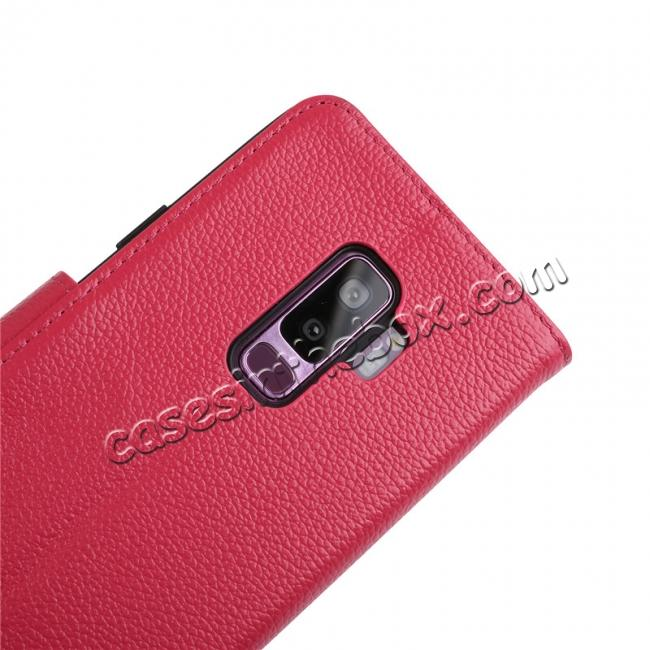 top quality Genuine Leather Wallet Flip Case Stand Credit Card for Samsung Galaxy S9 - Rose Red