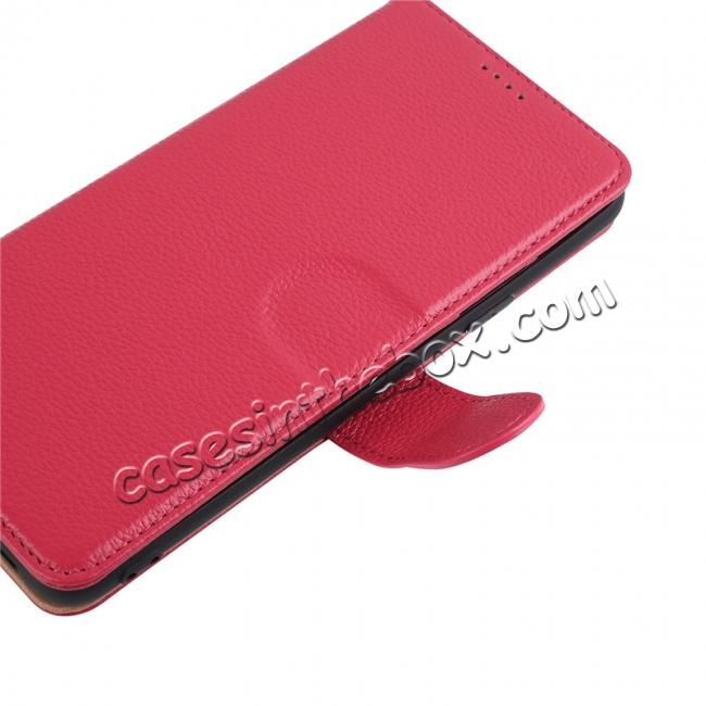 best price Genuine Leather Wallet Flip Case Stand Credit Card for Samsung Galaxy S9 - Rose Red
