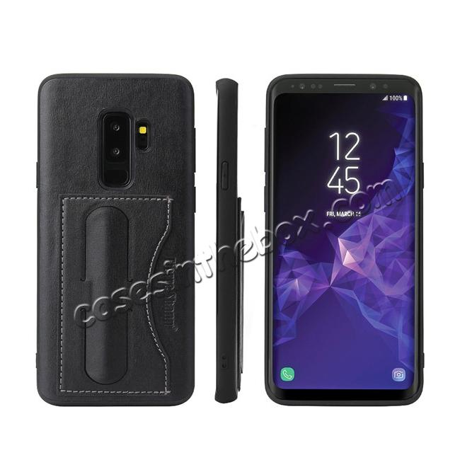wholesale Leather Slim Back Cover with Credit Card Slot for Samsung Galaxy S9+ Plus - Black
