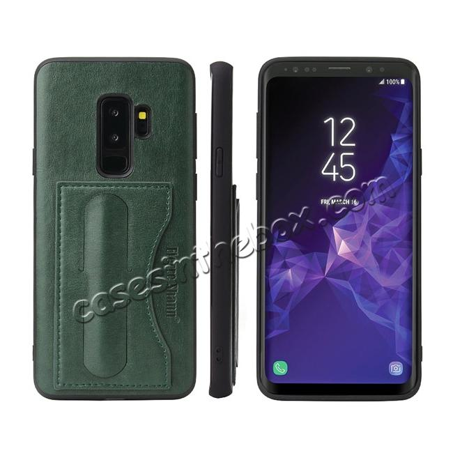 wholesale Leather Slim Back Cover with Credit Card Slot for Samsung Galaxy S9+ Plus - Green