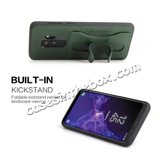cheap Leather Slim Back Cover with Credit Card Slot for Samsung Galaxy S9+ Plus - Green