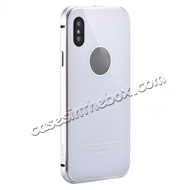 wholesale Aluminum Metal Bumper with Tempered glass Cover Case for iPhone XS / X - Silver&White