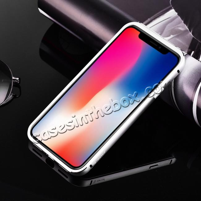 cheap Aluminum Metal Bumper with Tempered glass Cover Case for iPhone XS / X - Silver&White