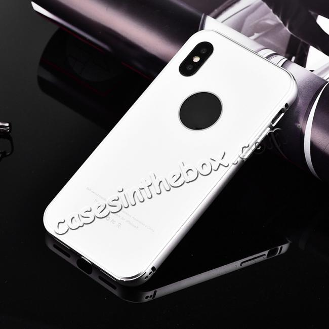 discount Aluminum Metal Bumper with Tempered glass Cover Case for iPhone XS / X - Silver&White