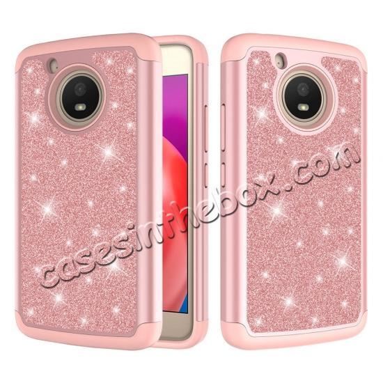 timeless design 90ec2 b1123 Case For Motorola MOTO E4 Glitter Bling Hard Silicone Hybrid Protective  Cover - Rose gold