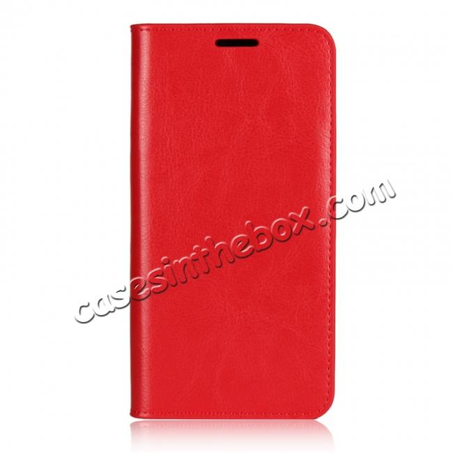 discount Crazy Horse Genuine Leather Case Flip Stand Card Slot for Huawei P20 Pro - Red