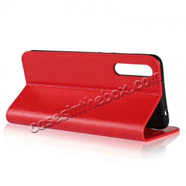 top quality Crazy Horse Genuine Leather Case Flip Stand Card Slot for Huawei P20 Pro - Red