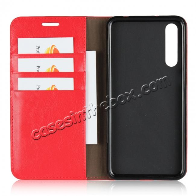 best price Crazy Horse Genuine Leather Case Flip Stand Card Slot for Huawei P20 Pro - Red