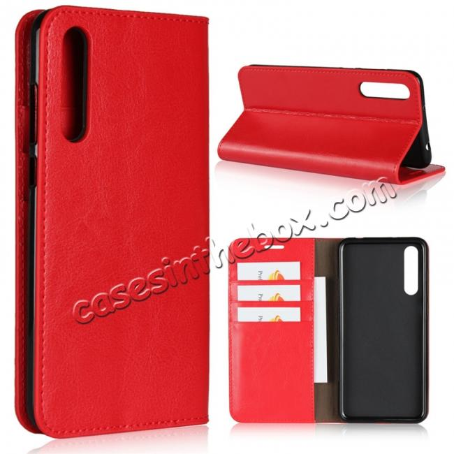 wholesale Crazy Horse Genuine Leather Case Flip Stand Card Slot for Huawei P20 Pro - Red